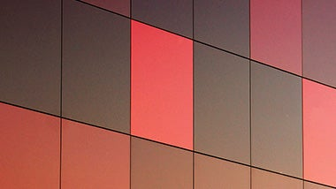 Square pattern red wall